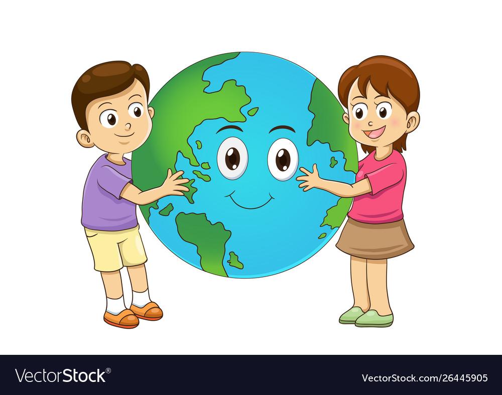 Children love earth hugging planet