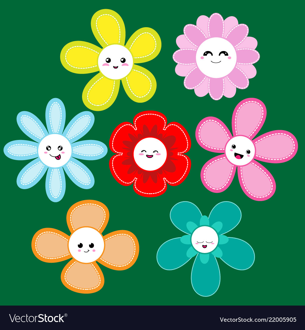Collection cute flowers