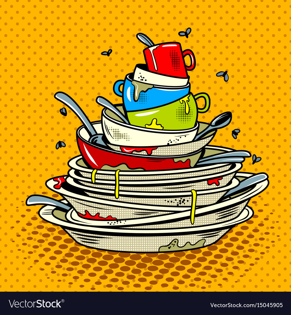 Dirty dishes comic book style vector image