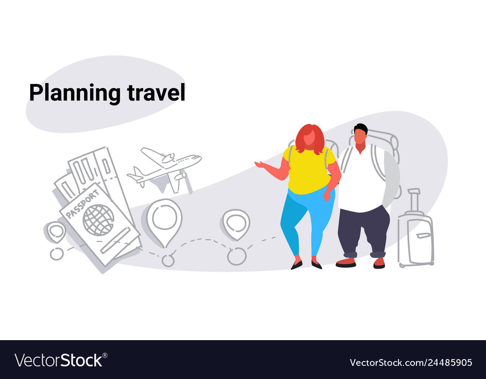 Fat obese man woman travelers standing together
