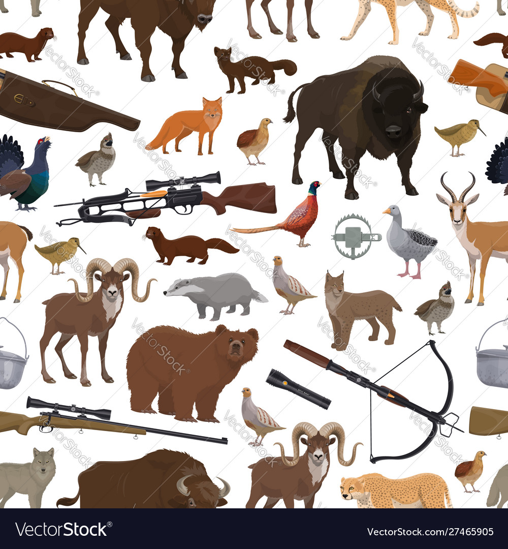 Hunting equipment and animals seamless pattern