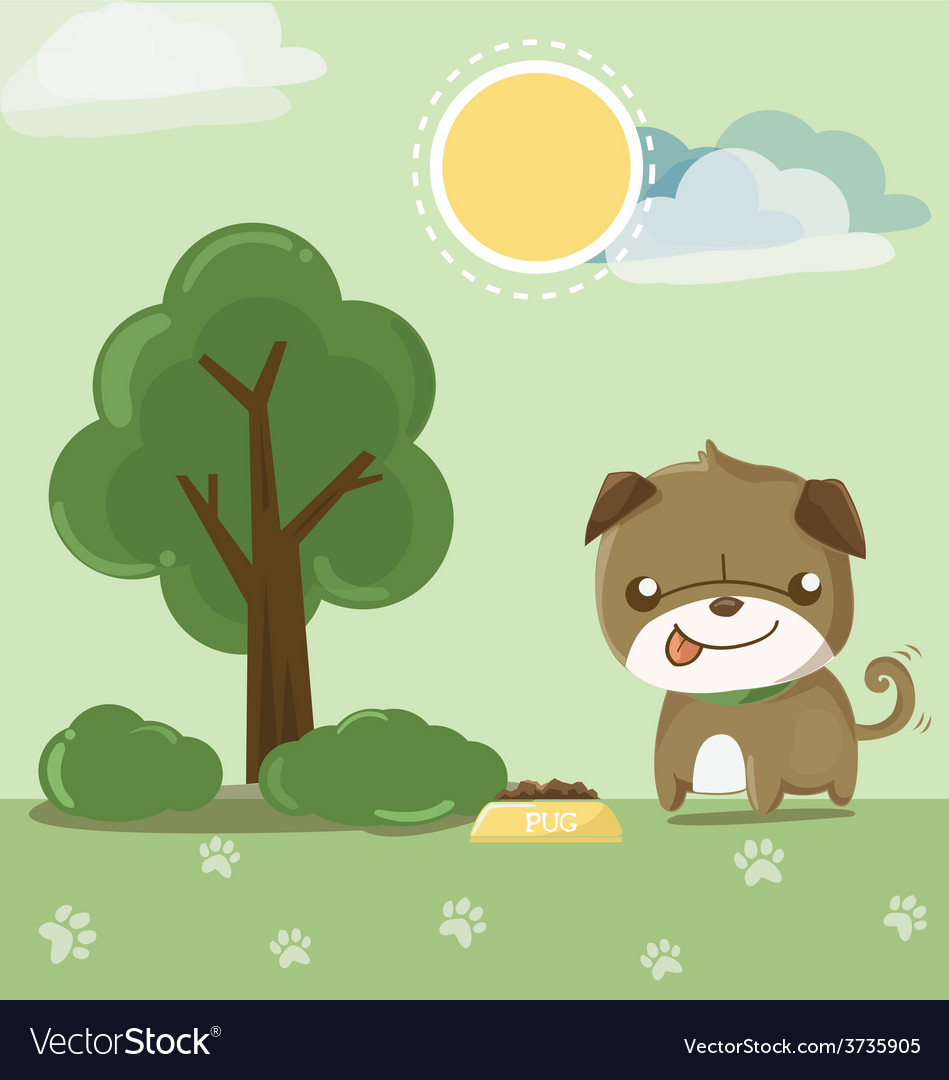 Pug smile in the garden vector image