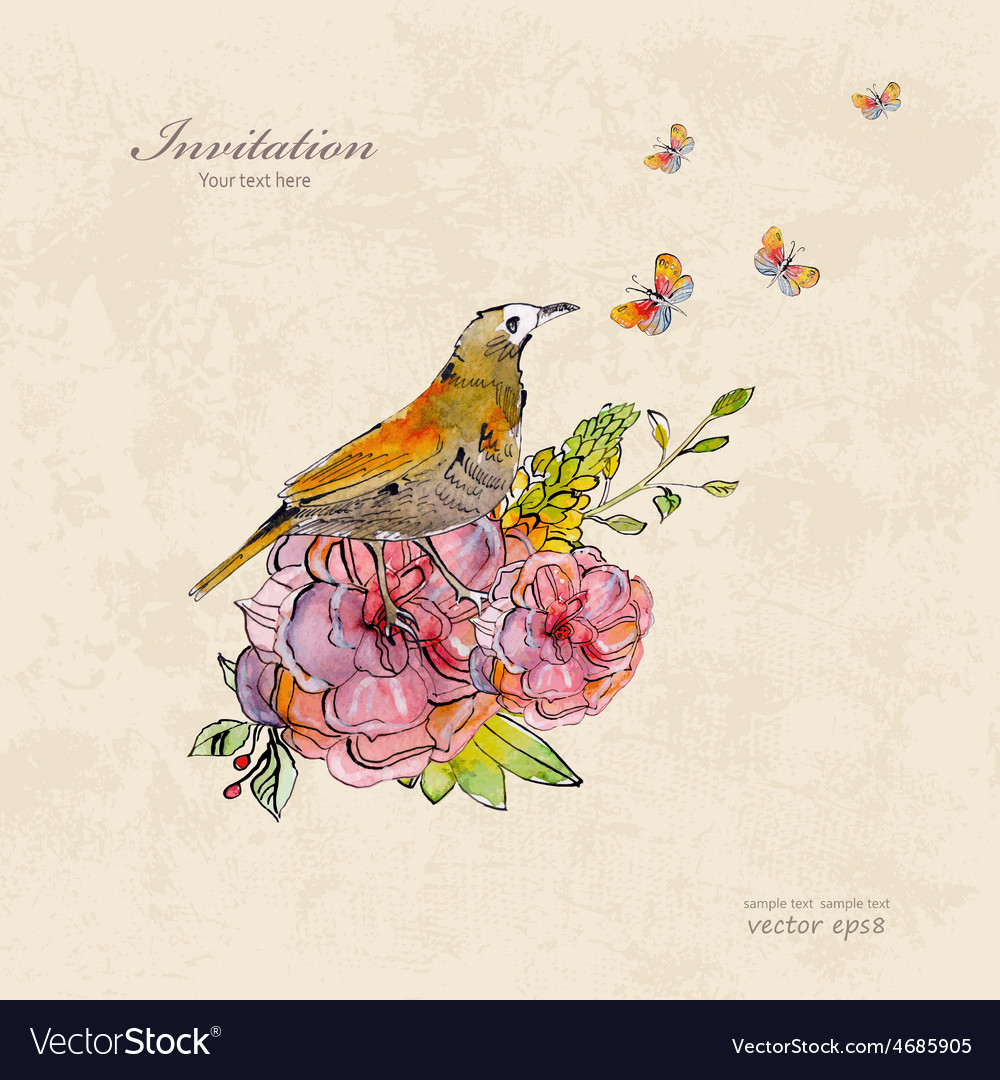 Retro invitation card with cute bird and