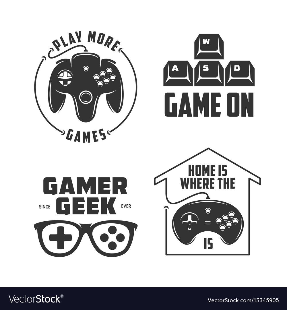 retro video games related t shirt design set vector image