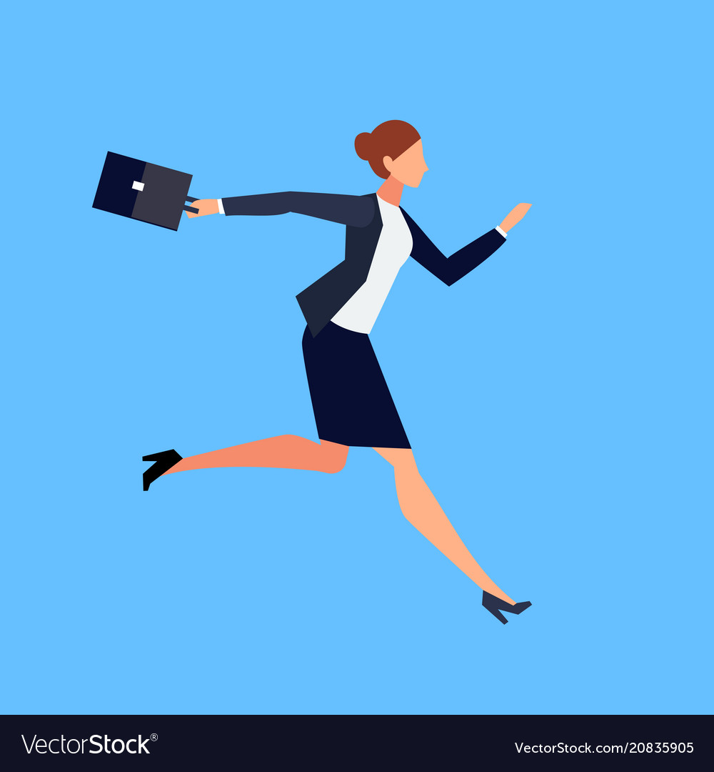 Running businesswoman in a flat style isolated