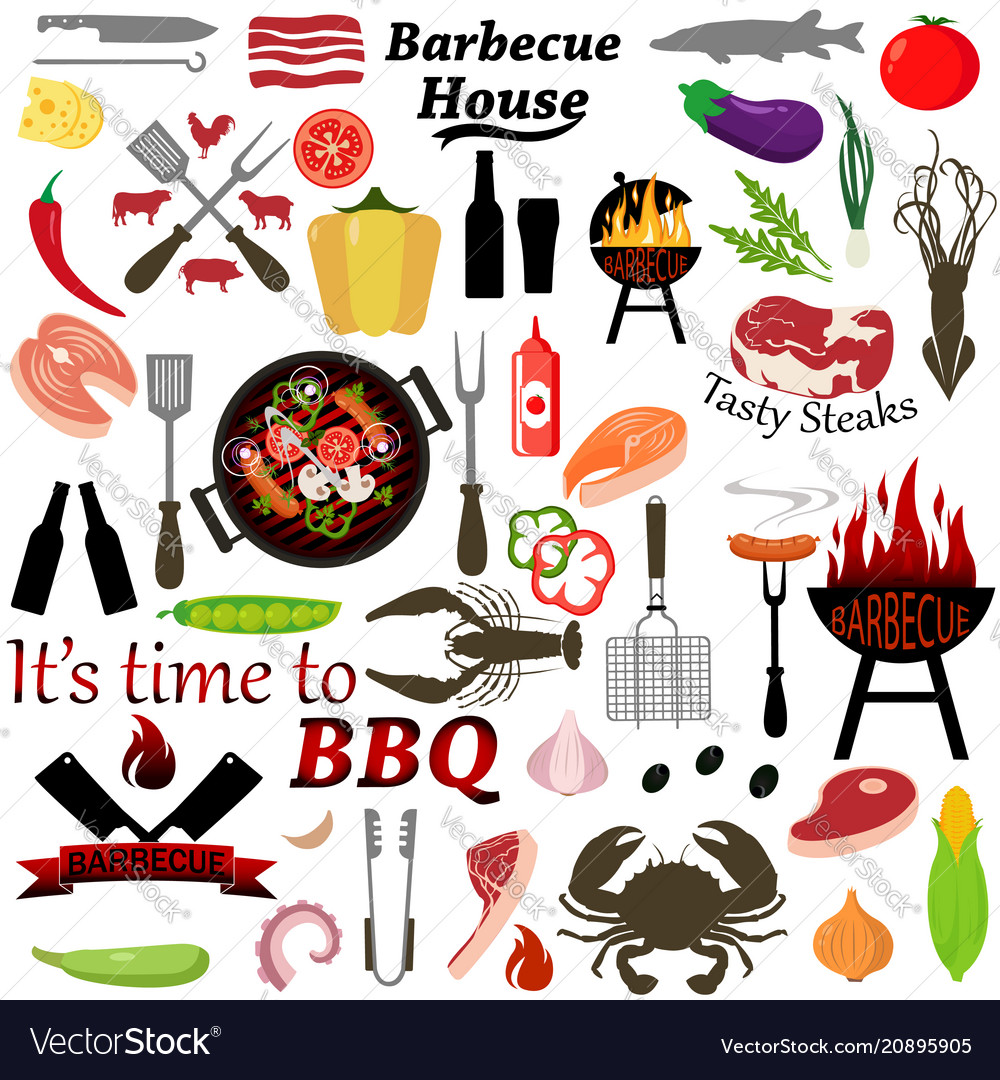 Set of barbecue and grilled food