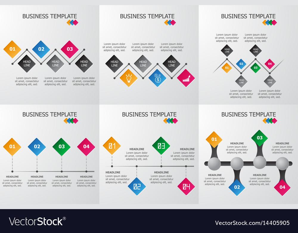 Set of rhombus infographics template