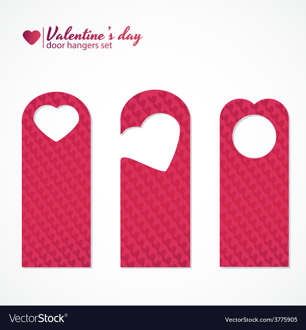 Set of three valentines day themed door hangers vector image