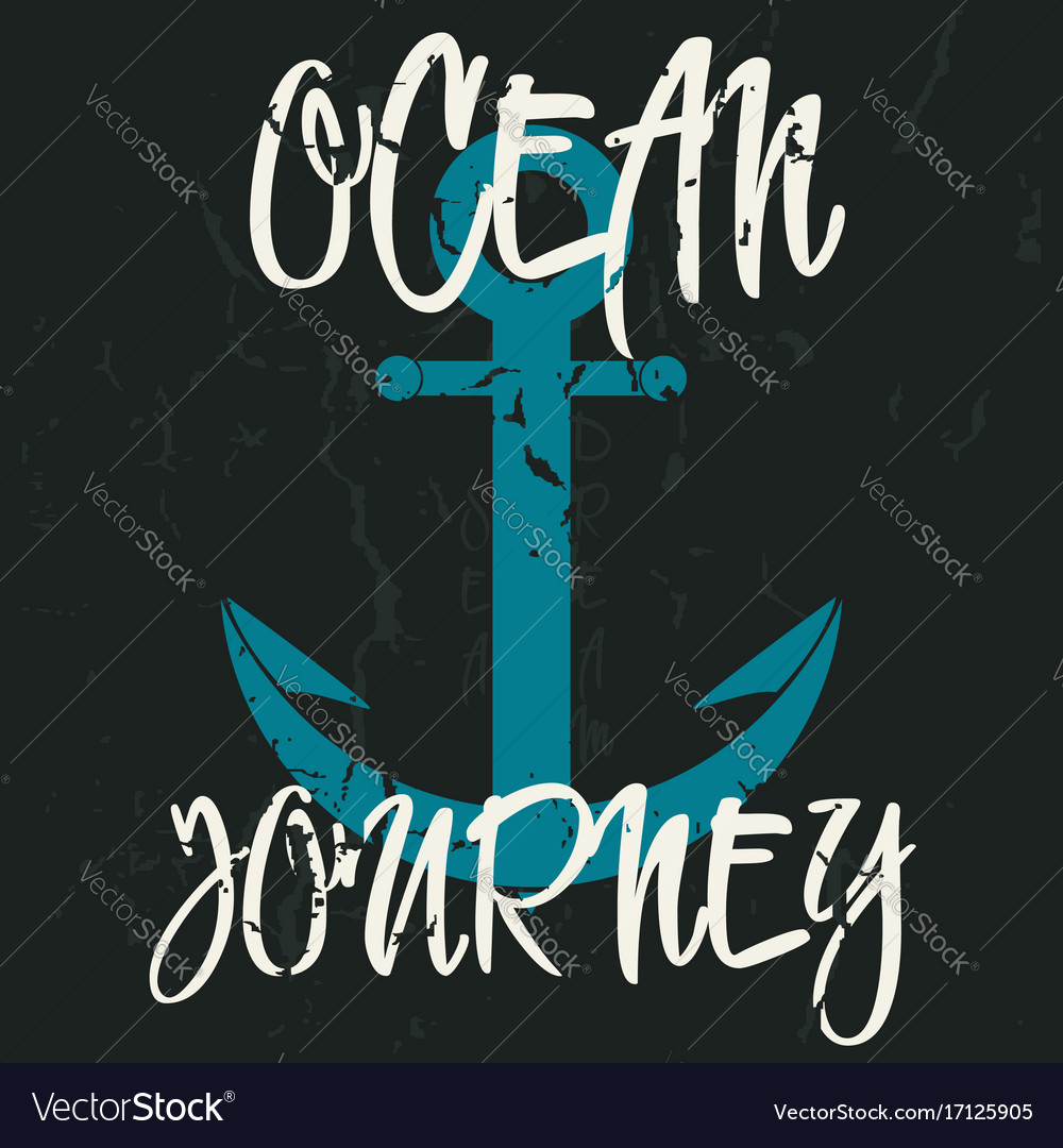 Vintage print for apparel design with an anchor