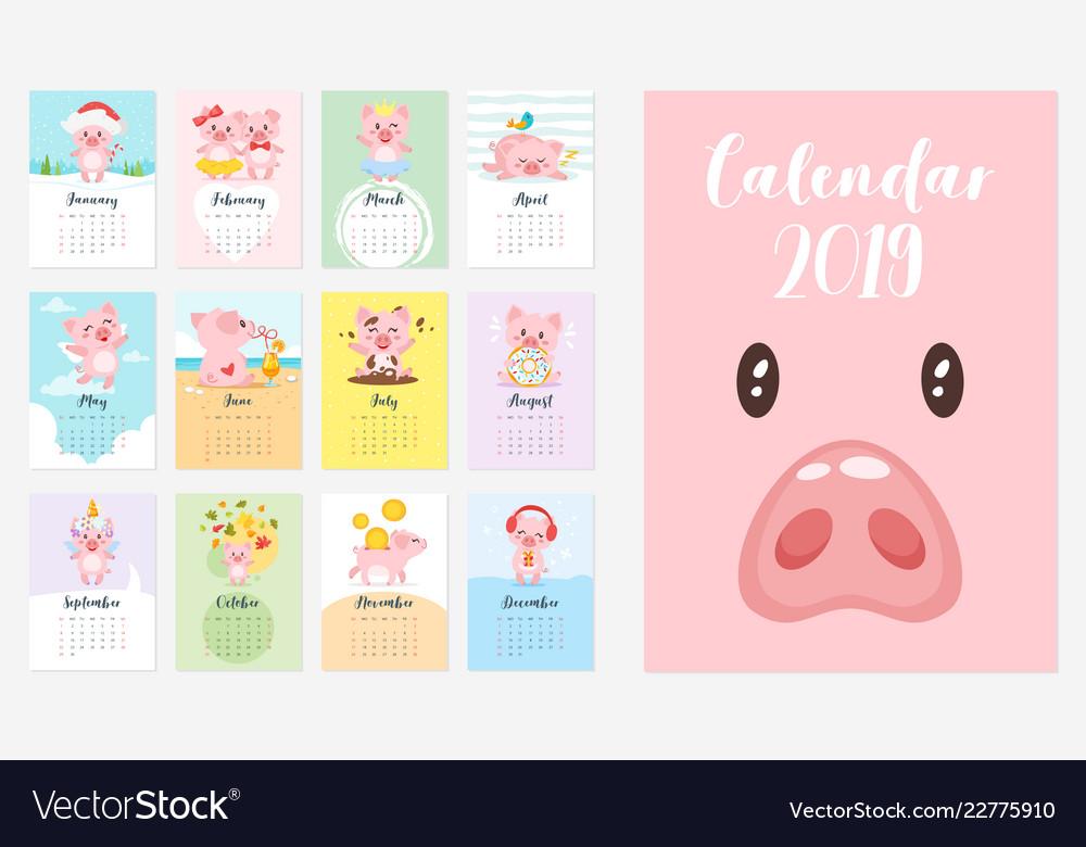 2019 pig year monthly calendar