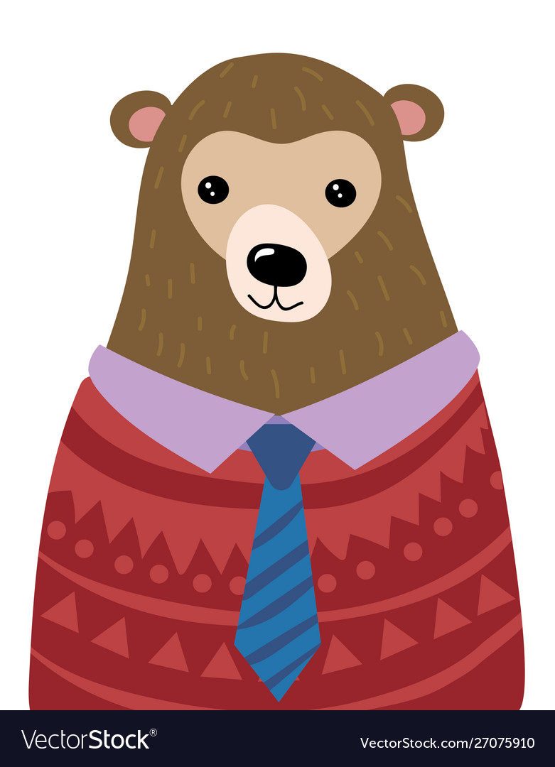 A cartoon portrait a bear stylized grizzly