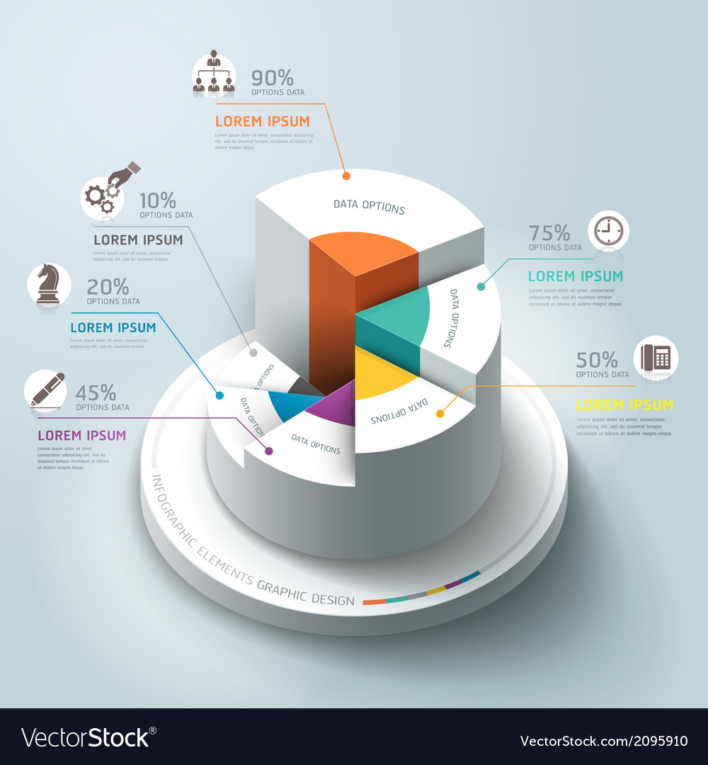Business Infographics circle origami template