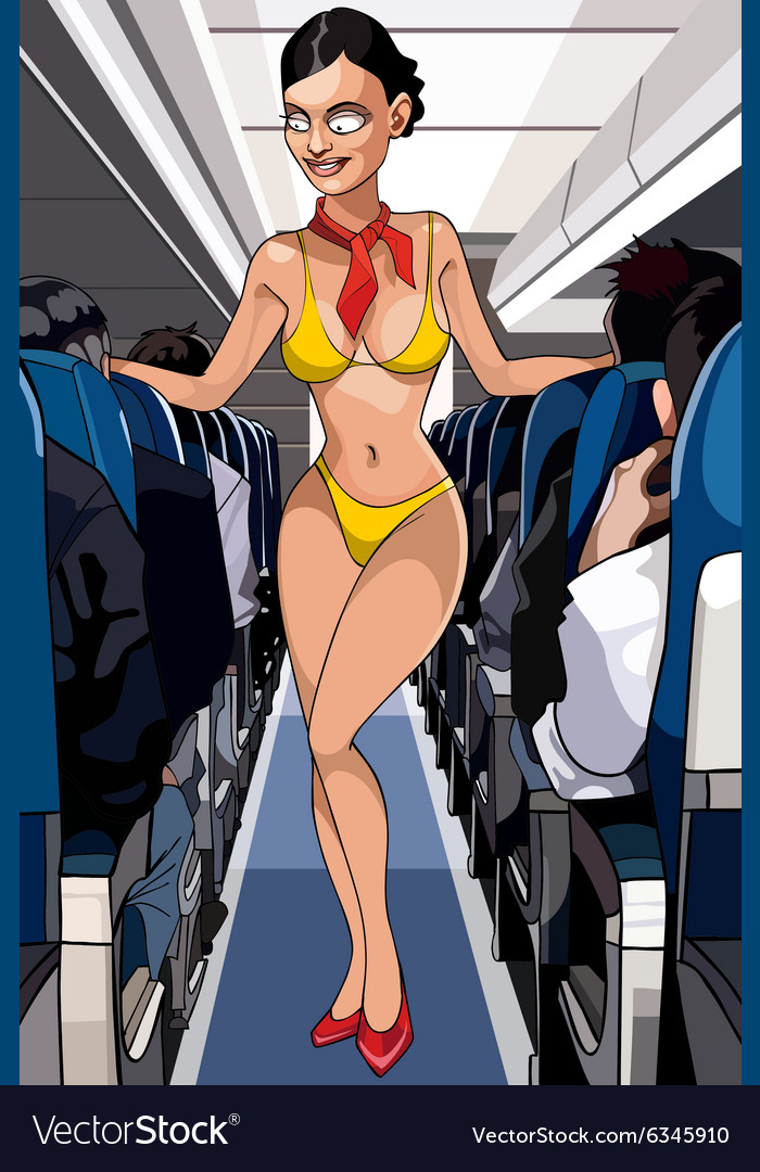 Cartoon sexy stewardess in a bathing suit in the vector image