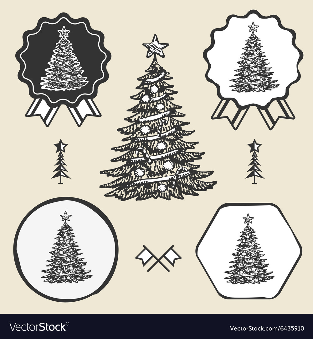 Christmas tree vintage symbol emblem label