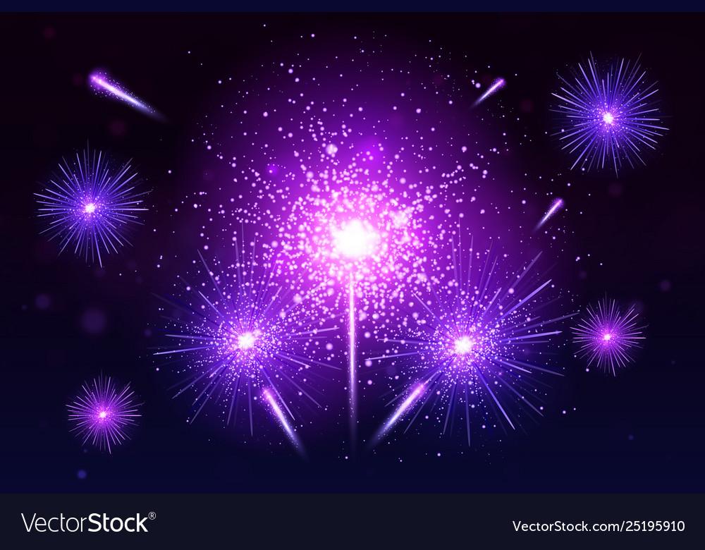 Colorful fireworks set bright festive realistic