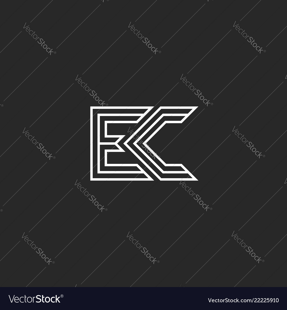 combination two letters logo e and c monogram vector image