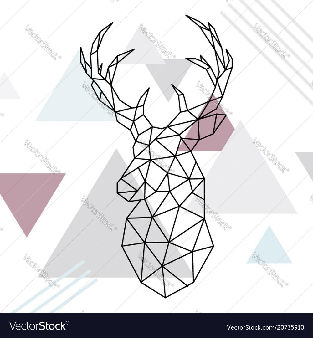 Geometric reindeer low poly line art wild deer