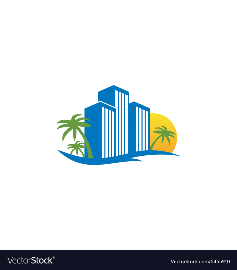 Hotel resort beach travel logo vector image
