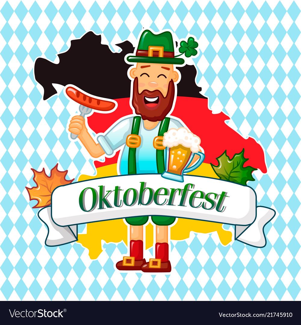 Oktoberfest German Man Concept Background Cartoon Vector Image