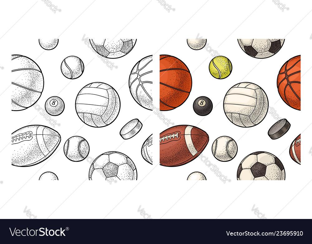 Seamless pattern different kinds sport balls