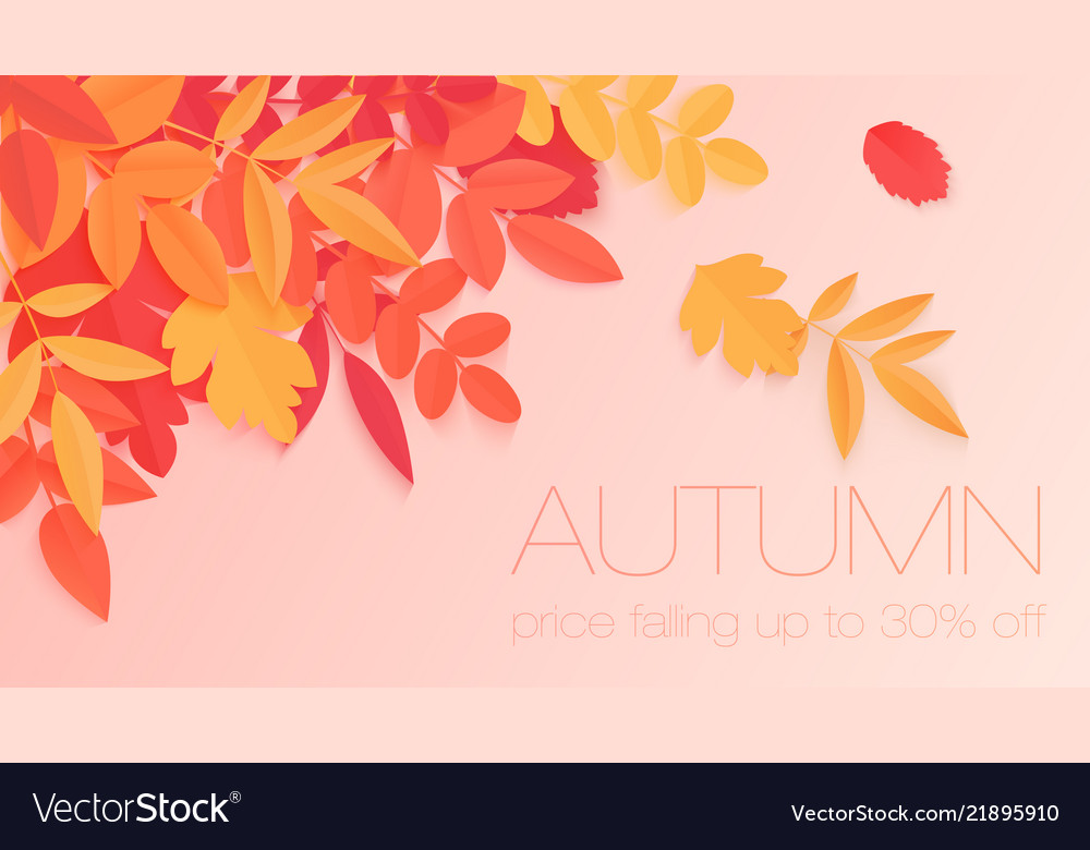 Trendy autumn sale banner with paper style bright
