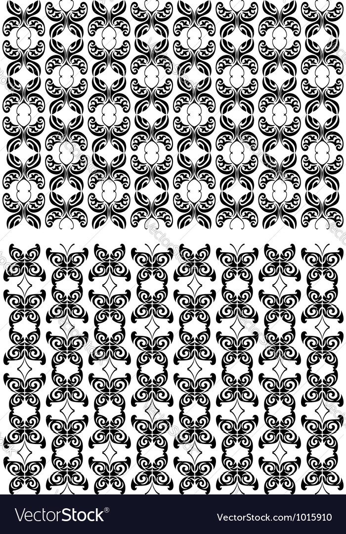 Two seamless patterns with black butterflies