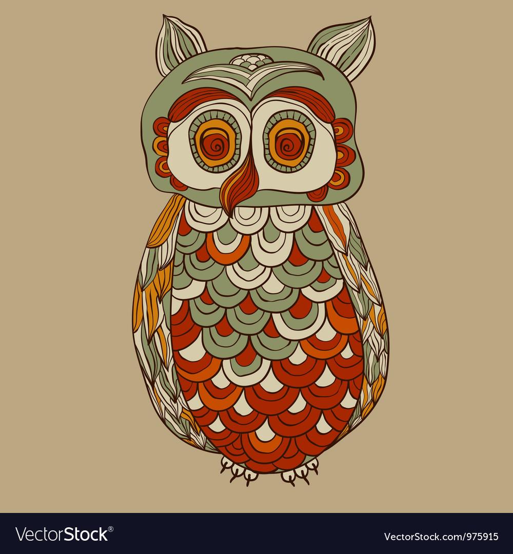Bizarre funky owl vector image