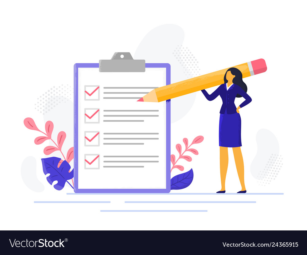 Businesswoman checklist successful woman checking