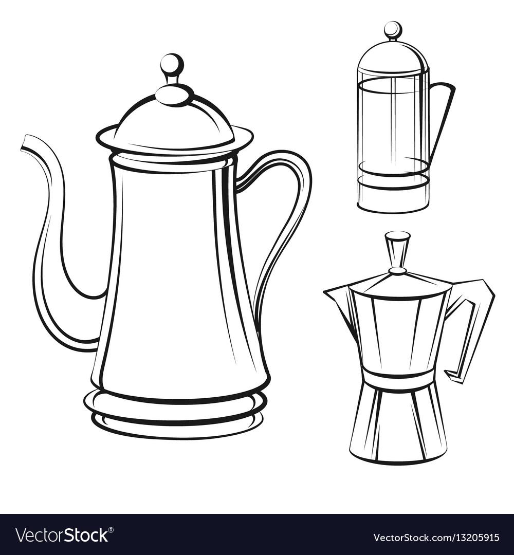 Coffee Pot Sketch Set Vector Image