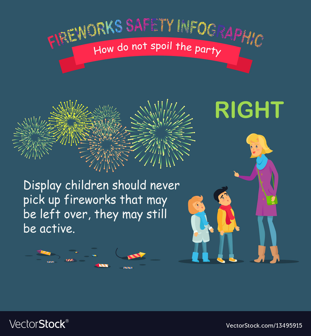 Fireworks safety infographic teaching children vector image