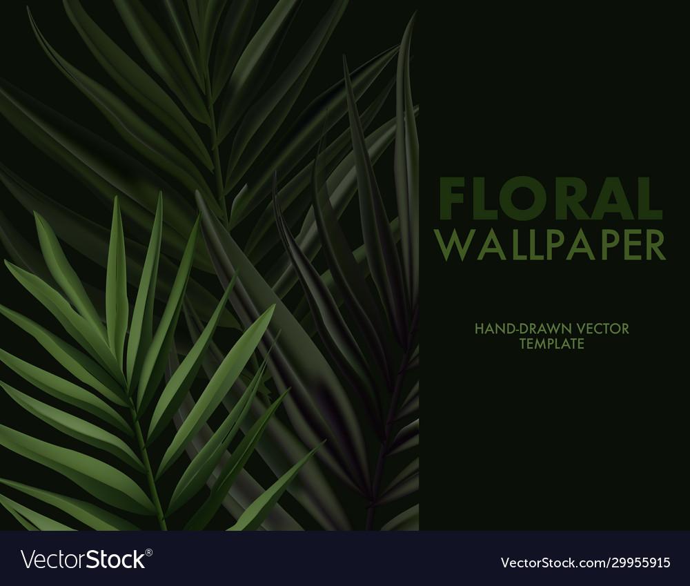 Greenery palm tree summer leaf on dark background