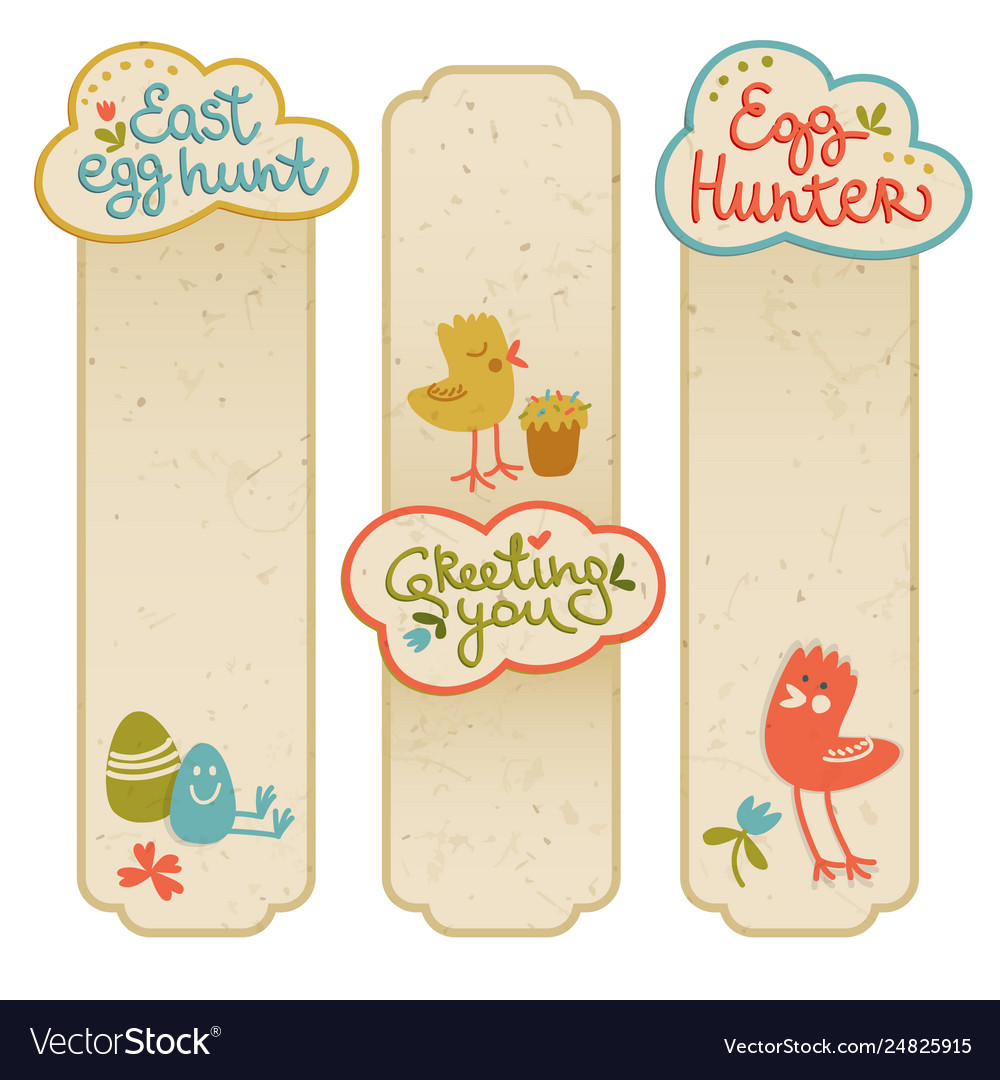 Happy easter cartoon banners