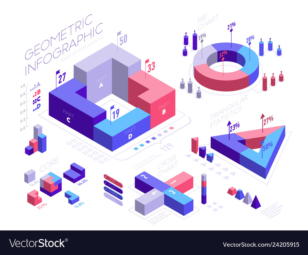 Isometric infographic elements with geometric