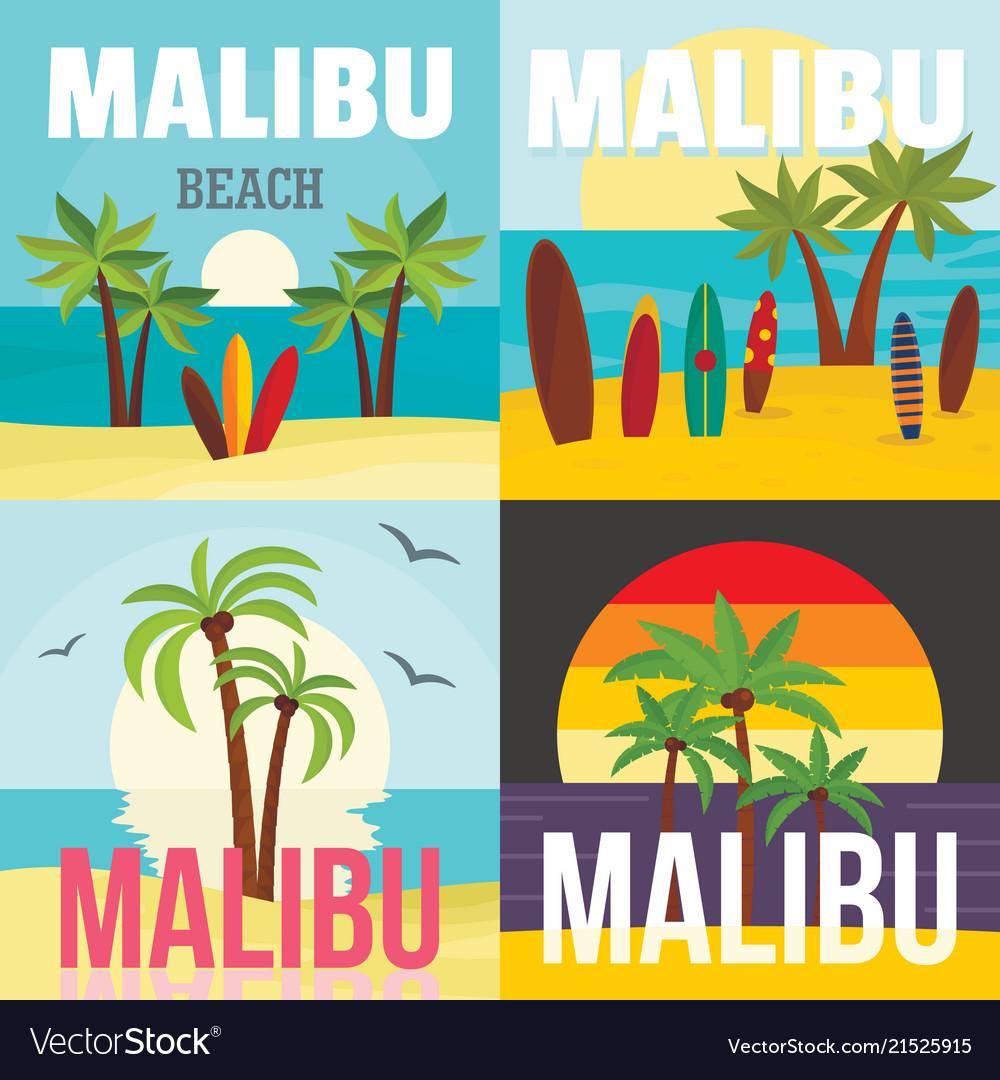 Malibu beach surf banner concept set flat style