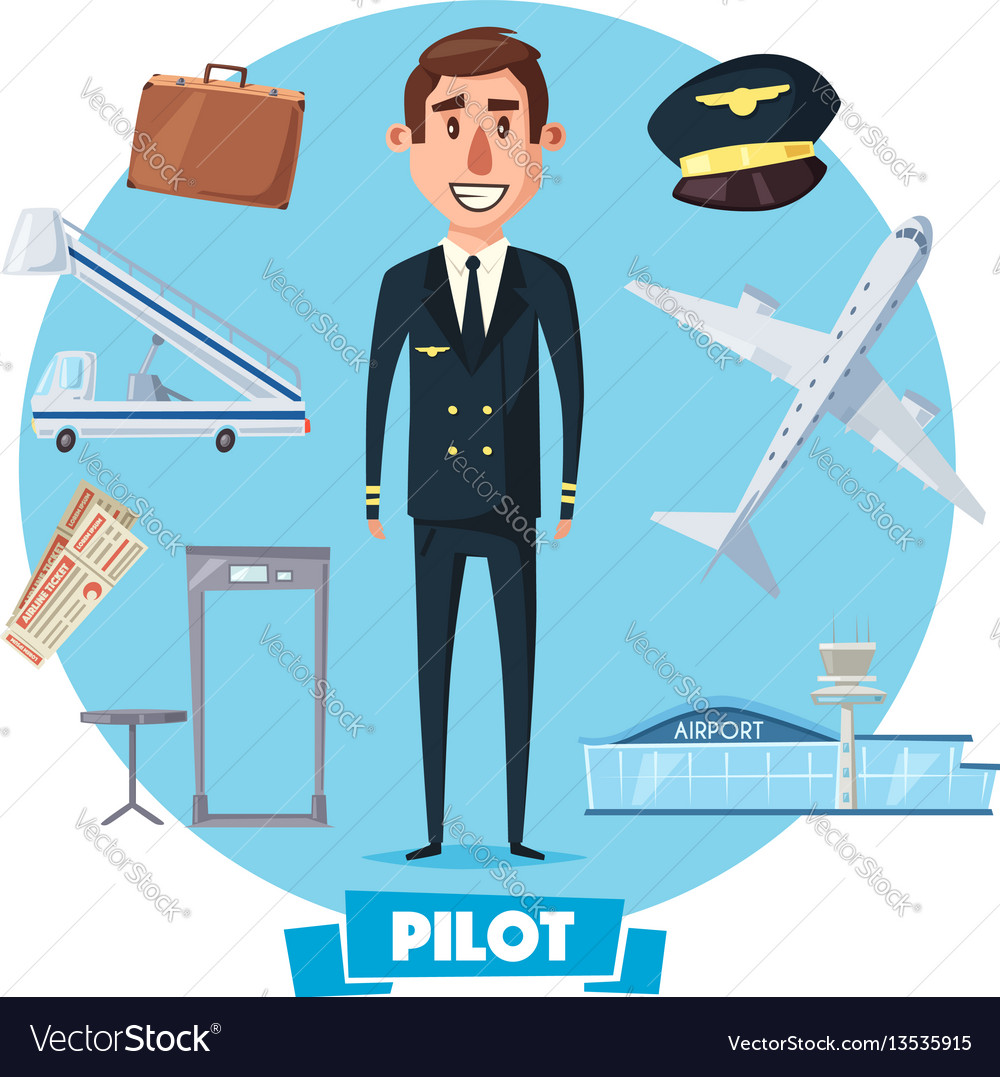 Pilot profession man and flight items vector image