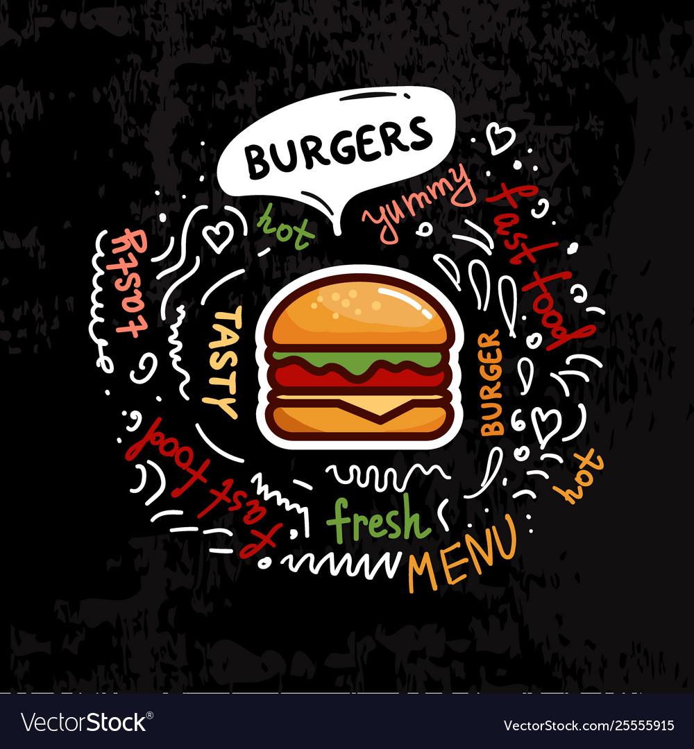 Tasty fast food burgers menu