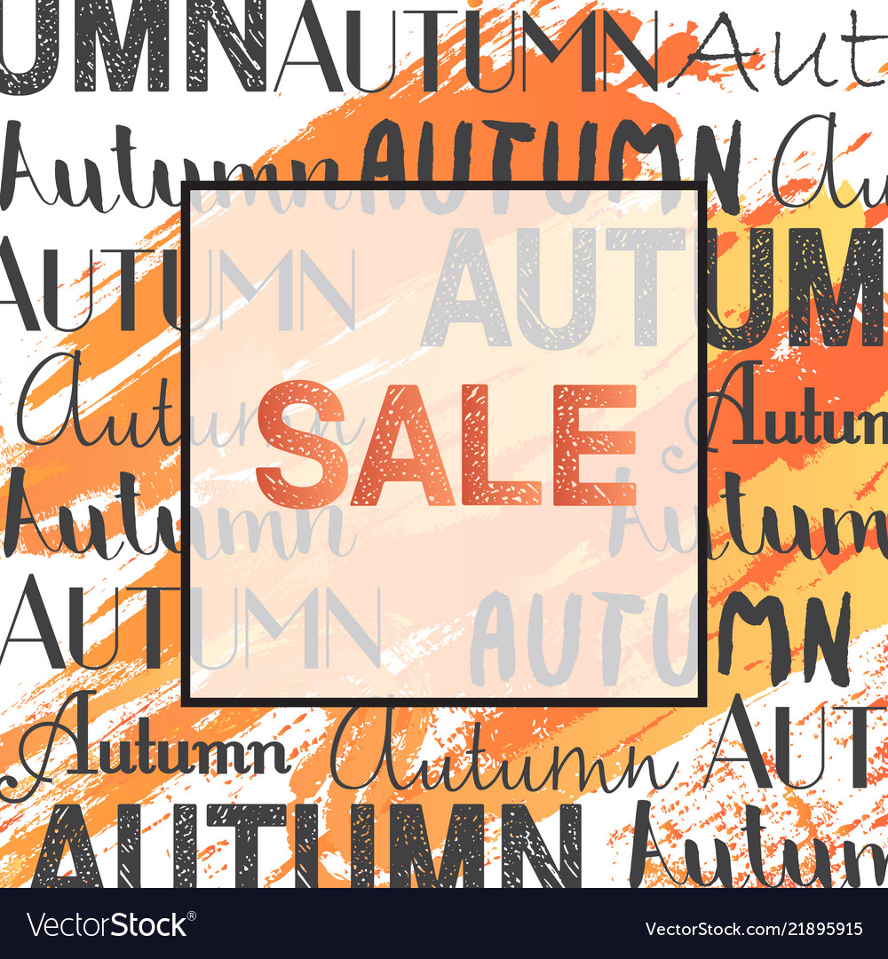 Trendy autumn sale banner in frame for poster