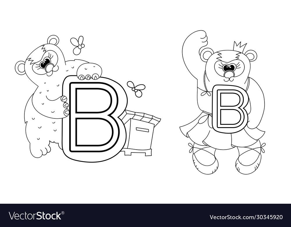 Animal Alphabet Coloring Book For Preschool Kids Vector Image