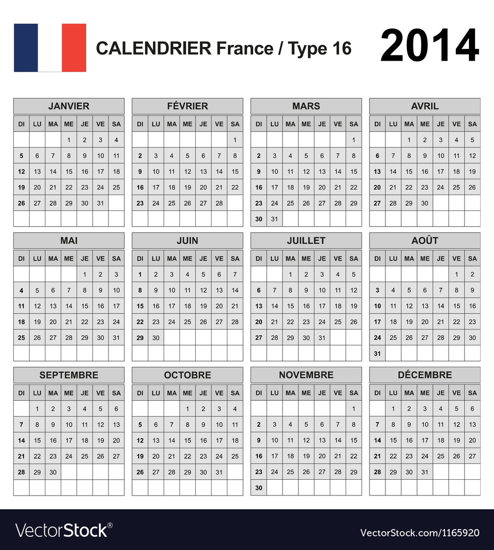 Calendar 2014 France Type 16 vector image