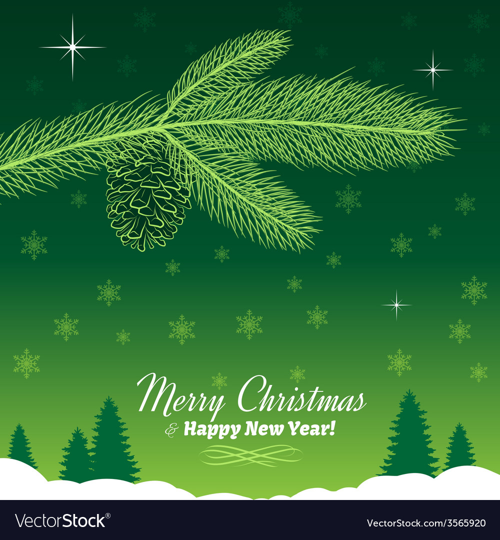 christmas tree branch with pine cone in green vector image - Christmas Tree With Pine Cones