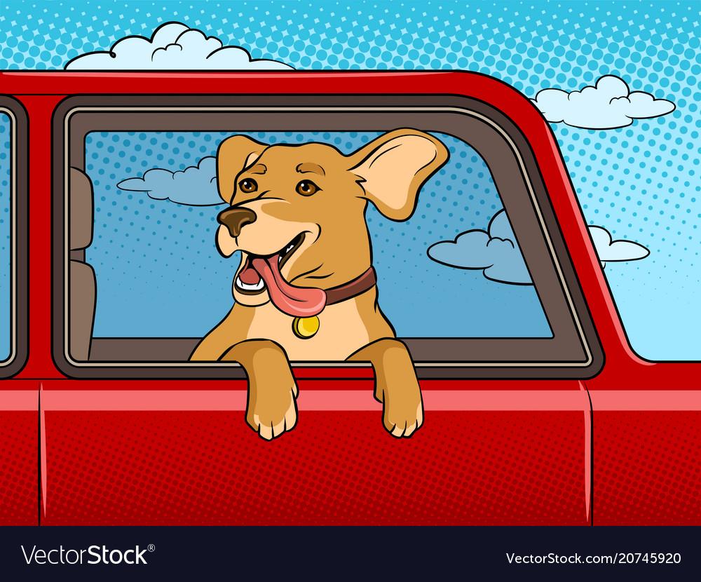 Dog in car window pop art