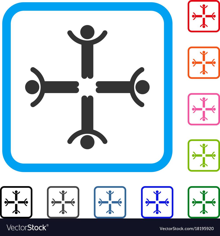 Hands up men framed icon