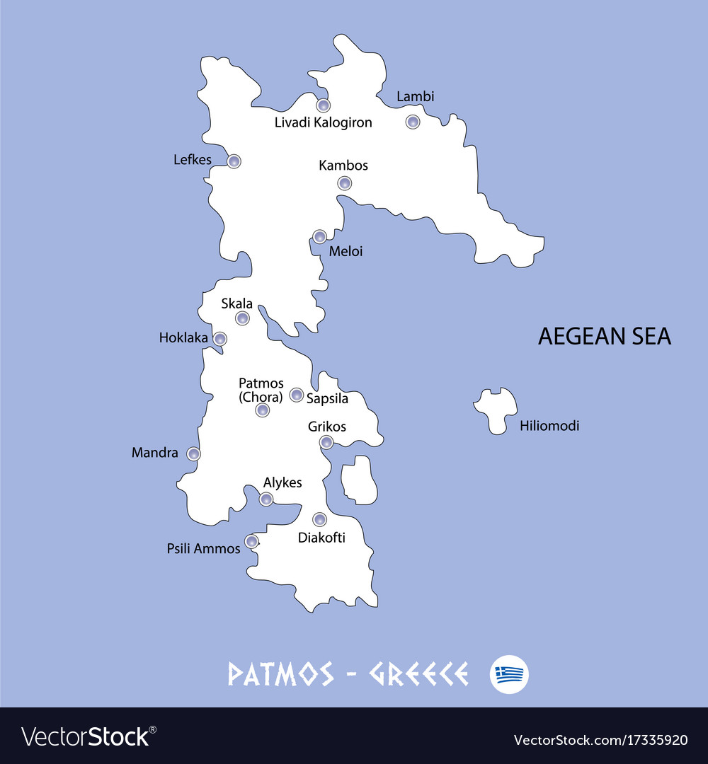 Island Of Patmos In Greece White Map And Blue Vector Image