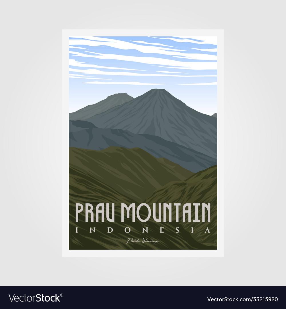 Prau mountain camp vintage poster design outdoor
