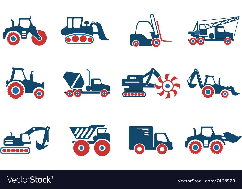 Symbols Of Construction Machines Royalty Free Vector Image