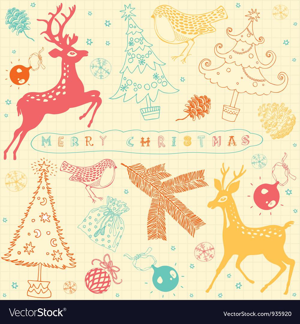 Vintage Christmas Deer Pattern Card