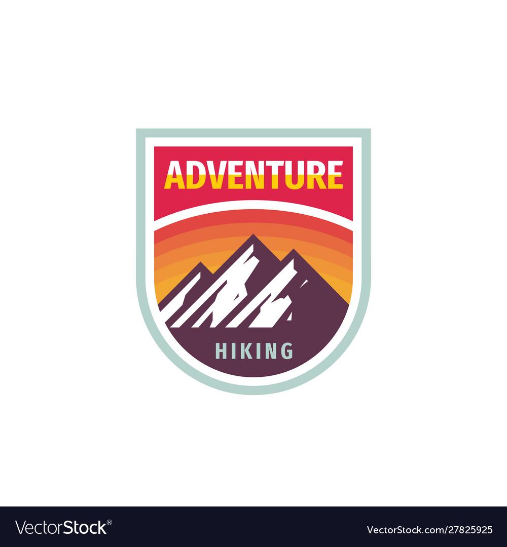 Adventure mountain hiking - concept badge design