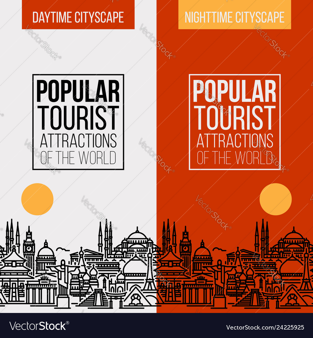 Banner with popular tourist attractions cityscape