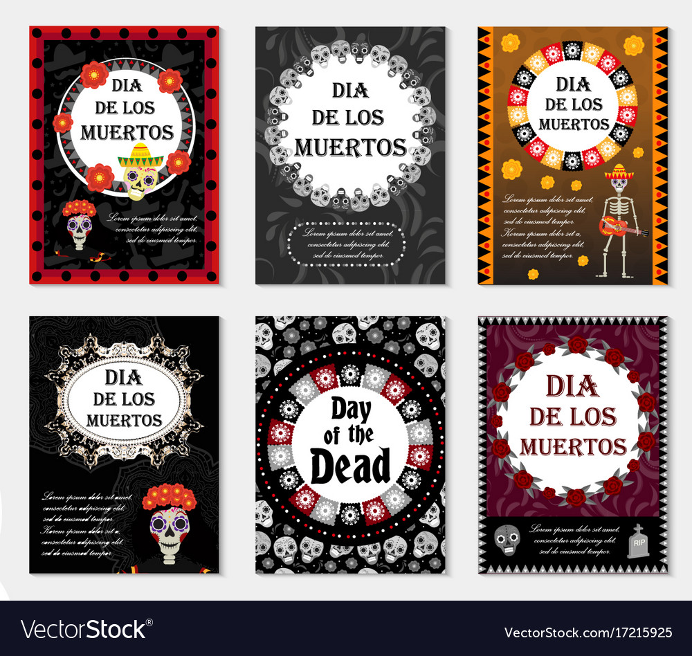 Day of the dead set flyer poster invitation with