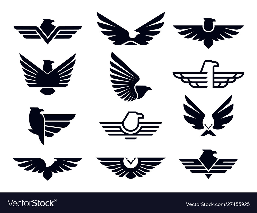 Eagle symbol silhouette flying eagles emblem